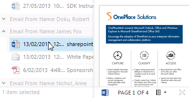 Preview emails and documents stored in SharePoint
